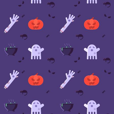 Vector illustration pattern of Halloween party invitations or greeting cards. Concept of zombie hand, ghost, pumpkin and black cat. Flat design