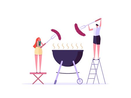 Barbecue party concept. Man and Woman at a picnic cooking a barbecue grill outdoors. Barbecue party banners with picnic on white background. Vector illustration.