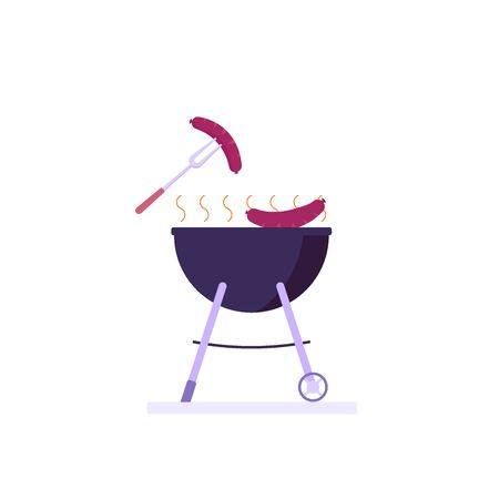 Barbecue party concept. Woman at a picnic cooking a barbecue grill outdoors. Barbecue party banners with picnic on white background. Vector illustration. Imagens - 148391367