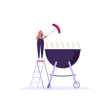 Barbecue party concept. Woman at a picnic cooking a barbecue grill outdoors. Barbecue party banners with picnic on white background. Vector illustration.