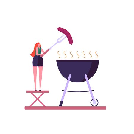 Barbecue party concept. Woman at a picnic cooking a barbecue grill outdoors. Barbecue party banners with picnic on white background. Vector illustration. Imagens - 148391369
