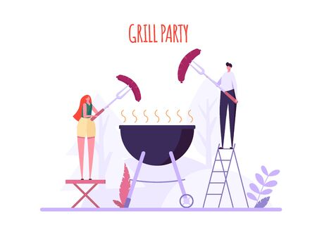 Barbecue party concept. Man and Woman at a picnic cooking a barbecue grill outdoors. Barbecue party cards or posters with picnic on white background. Vector illustration. Ilustração
