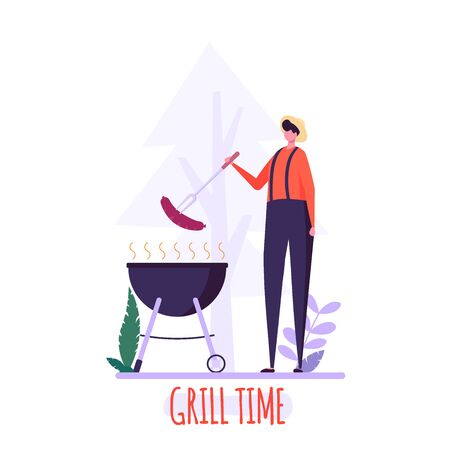 Barbecue party concept. Man in hat at a picnic cooking a barbecue grill outdoors. Barbecue party cards or posters templates with picnic on white background. Vector illustration.