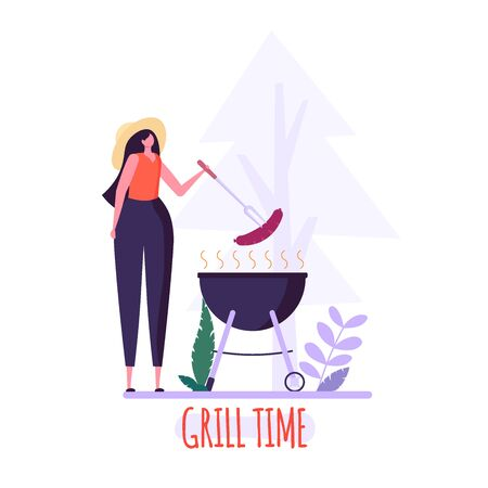 Barbecue party concept. Woman in hat at a picnic cooking a barbecue grill outdoors. Barbecue party cards or posters templates with picnic on white background. Vector illustration. Imagens - 148391373