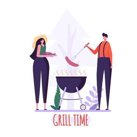 Barbecue party concept. Man and Woman at a picnic cooking a barbecue grill outdoors. Barbecue party cards or posters with picnic on white background. Vector illustration. Imagens - 148391374