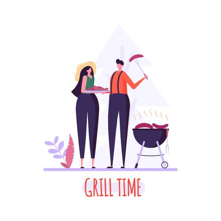 Barbecue party concept. Man and Woman at a picnic cooking a barbecue grill outdoors. Barbecue party cards or posters with picnic on white background. Vector illustration. Imagens - 148391376