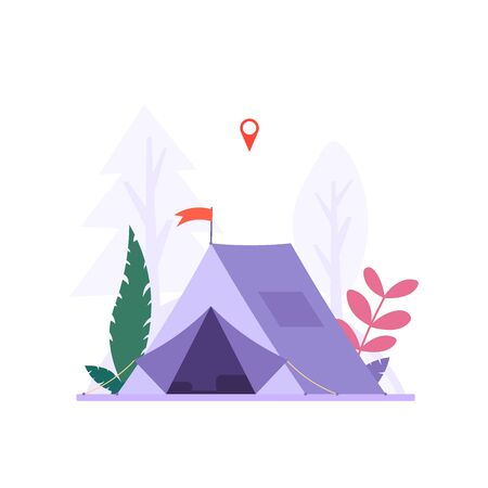 Concept of adventure, hiking, vacation and tourism. Isolated camp tent. Summer sport activity. Vector illustration in flat design