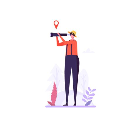 Concept of adventure, camping, vacation and tourism. Man looks in spyglass at forest. Summer sport activity. Vector illustration in flat design