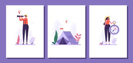 Concept of adventure, camping, vacation and tourism. Man and woman look in spyglass at forest with compass. Summer sport activity cards. Vector illustration in flat design Ilustração