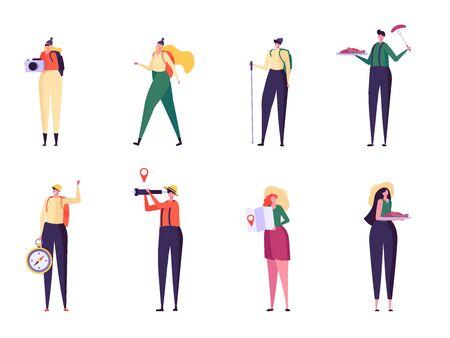Set of men and women travelling outdoor. Collection tourists with photocamera, compass, spyglass, Ñ'ordic walking sticks. Summer sport activity. Vector illustration Ilustração