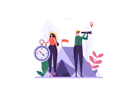 Concept of adventure, camping, vacation and tourism. Man and woman look in spyglass at forest with compass. Summer sport activity. Vector illustration in flat design