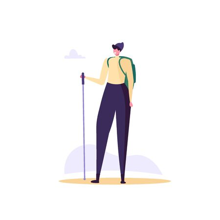 Concept of adventure, hiking, vacation and tourism. Man wearing casual clothes, hat and hiking backpack. Isolated man standing with camping backpack. Vector illustration in flat cartoon design Ilustração