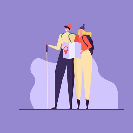 Concept of adventure, hiking, vacation and tourism. Man and woman wearing casual clothes, hat and hiking backpack. Isolated couple standing with map and backpack. Vector illustration in flat design Ilustração