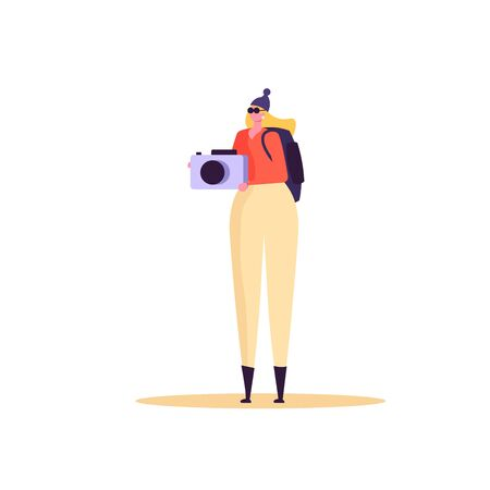 Concept of adventure, hiking, vacation and tourism. Woman wearing casual clothes, hat and hiking backpack. Isolated woman standing with photocamera and backpack. Vector illustration in flat design Ilustração