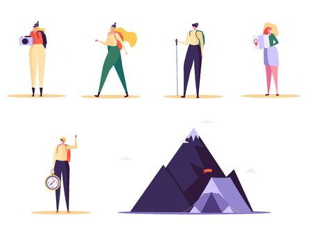 Concept of adventure, hiking, vacation and tourism. Men and women wearing casual clothes, hat and hiking backpack. Set of people standing with map and backpack. Vector illustration in flat design
