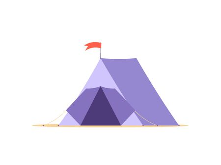Concept of adventure, hiking, vacation and tourism. Isolated camp tent. Vector illustration in flat design Ilustração