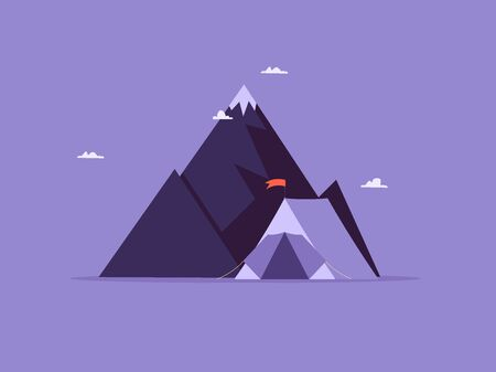 Concept of adventure, hiking, vacation and tourism. Black mountain and tent. Vector illustration in flat design Ilustração