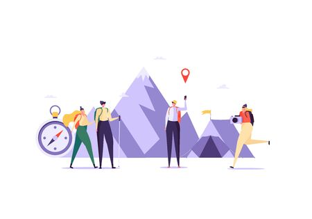 Concept of adventure, hiking, vacation and tourism. Men and women wearing casual clothes, hat and hiking backpack. Group of people in mountains with map and compass. Vector illustration in flat design