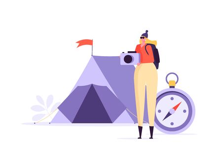 Concept of adventure, hiking, vacation and tourism. Woman wearing casual clothes, hat and hiking backpack. Цoman standing with tent, photocamera and backpack. Vector illustration in flat design