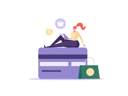 Online shopping, e-commerce, shopping items, credit cards and discount concept. Flat people characters buying and making order in internet. Can use for UI, app, banner, landing page. Vector illustration.
