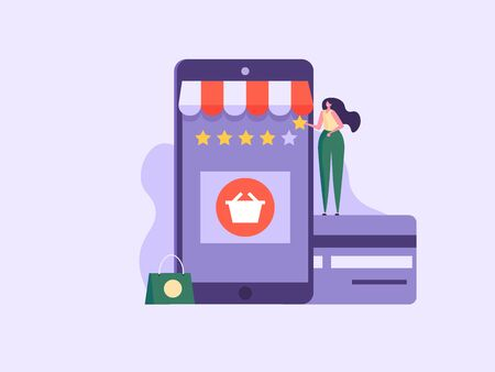 Online shopping, e-commerce, credit cards and discount concept. Happy woman character buying and leaving feedback  in mobile app. Can use for UI, app, banner, landing page. Vector illustration.