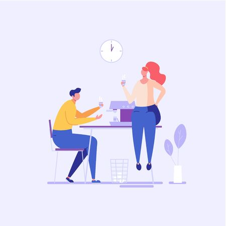 Workers sitting at desk and drinking coffee. Coffee break and lunch time in coworking office. Concept of informal conversation, talk, corporate lifestyle, workplace for web or mobile app