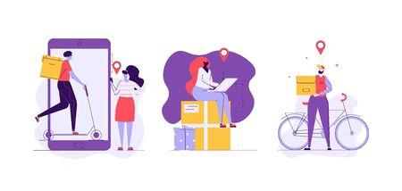 Courier on scooter delivering food to customer. Mobile delivery service. Concept of food delivery, logistics transport, order tracking. Vector illustration for UI, web banner, mobile app Imagens - 148772189