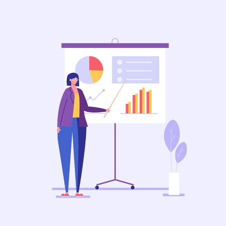 Woman analyzing data on a chart. Business analysis. Concept of big data, analysis process, business presentation and financial research. Vector illustration in flat design for UI, banner, mobile app