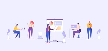 Office panorama with interior flat illustration. Business team working together. Workers sitting at desks and talking to each other. Concept of corporate lifestyle, workplace for web design.