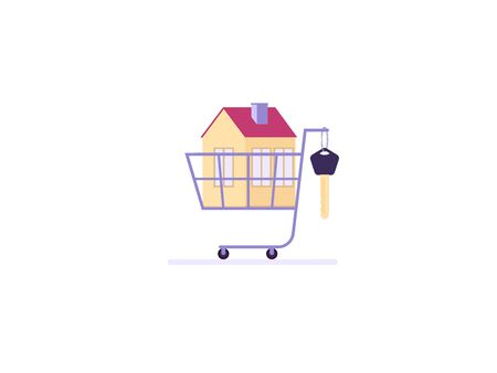 Concept of mortgage, purchase house, real estate, abstract ownership. Family Man and Woman buy house witj key. Vector illustration in flat cartoon design Ilustração