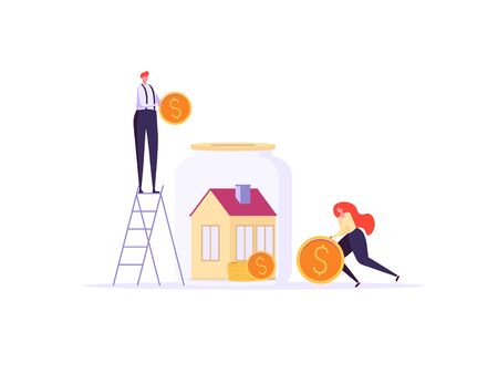 Concept of mortgage, purchase house, real estate, abstract ownership. Family Man and Woman buy house witj key. Vector illustration in flat cartoon design Imagens - 148668206