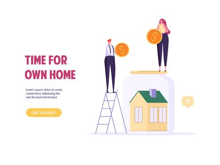 Concept of mortgage, purchase house, real estate, abstract ownership. Family Man and Woman buy house witj key. Vector illustration in flat cartoon design Imagens - 148668008