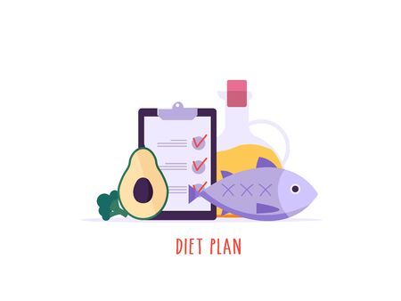 Keto diet vector illustration. Flat tiny slim fit body people concept. Diet plan checklist, training, nutrition control and vegetables, fish, oil. Weight management, individual dietary service. Cartoon design Imagens - 148668774