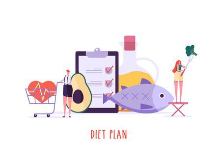 Keto diet vector illustration. Flat tiny slim fit body people concept. Diet plan checklist, training, nutrition control and vegetables, fish, oil. Weight management, individual dietary service. Cartoon design