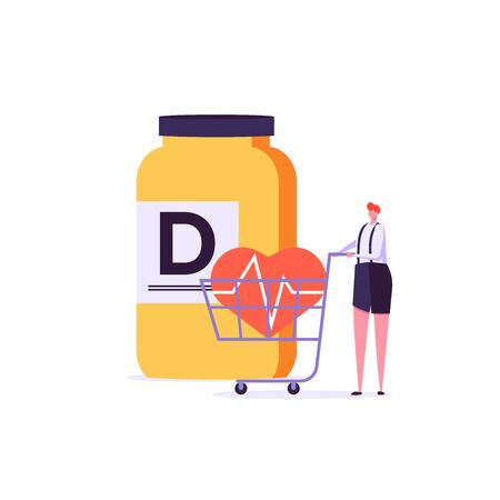 Mediterranean diet, vitamin D, healthy heart vector illustration. Flat tiny slim fit body people concept. Healthy people training, nutrition control with vegetables, fish, oil. Flat design