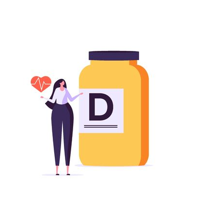 Medicament, vitamin D, bioactive additive, healthy heart vector illustration. Flat tiny slim fit body woman concept. Healthy woman buys healt. Flat design Imagens - 148668087
