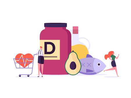 Mediterranean diet, vitamin D, healthy food vector illustration. Flat tiny slim fit body people concept. Healthy people training, nutrition control with vegetables, fish, oil. Flat design