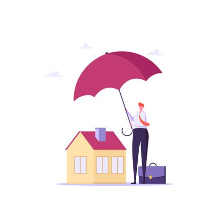 Concept of house insurance, property, real estate. People buy and use insurance for protect house. Vector illustration in flat cartoon design