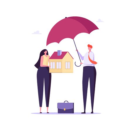 Concept of house insurance, property, real estate. Man and woman buy and use insurance for protect house. Vector illustration in flat cartoon design Imagens - 148772187