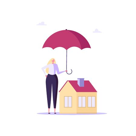 Concept of house insurance, property, real estate. Woman agent buy and use insurance for protect house. Vector illustration in flat cartoon design