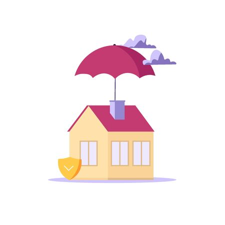 Concept of house insurance, property, real estate. Insurance for protect house. Vector illustration in flat cartoon design Imagens - 148772193
