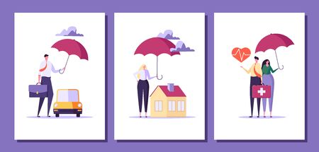 Concept of house insurance, property, real estate. People buy and use insurance for protect house. Vector illustration in flat cartoon design Ilustração