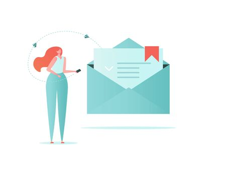 Mail, Letter, Data protection concept. Business woman with mail, lock and phone. Insurance from business risk. Vector illustration in flat cartoon design