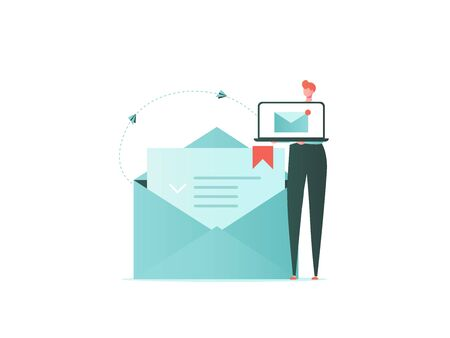 Mail, Letter, Data protection concept. Business man with mail, lock and phone. Insurance from business risk. Vector illustration in flat cartoon design
