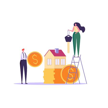 Concept of rent house, purchase house, real estate, abstract ownership. People find, rent and buy real estate. Vector illustration in flat vector design