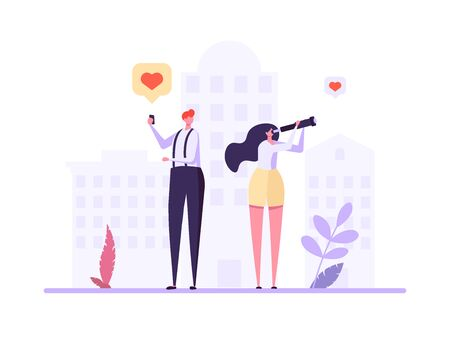 Concept of online dating, virtual relationship and social networking. Young couple of man and woman meeting online. Vector illustration in flat design, can use for landing page, template, ui, web