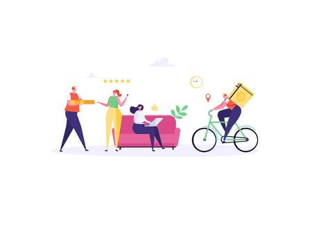 Concept of Fast and free delivery 24/7. People on sofa order food online on white background, courier with cycle. Delivery work vector illustration in flat design. Imagens - 149230046
