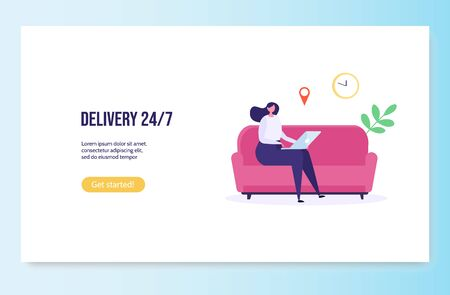 Concept of Fast and free delivery 24/7. Isolated young woman on sofa order food online on white background. Delivery work vector illustration in flat design.