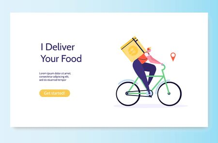 Fast and free delivery by cycle. Courier on bike with parcel box on the back isolated on white background. Delivery work vector illustration in flat design. Imagens - 149230229