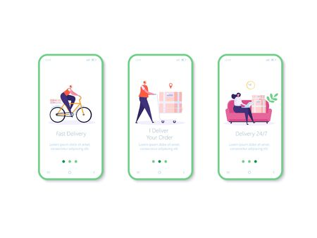 Concept of Fast and free delivery 24/7 mobile app page. People on sofa order food online on white background, courier with cycle. Delivery work vector illustration in flat design. Ilustração